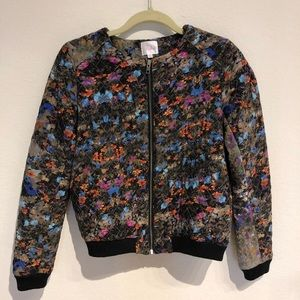 Parker mixed watercolor floral quilted bomber